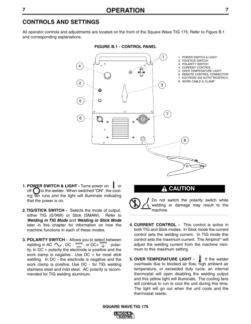 small resolution of operation controls and settings caution lincoln electric im565 square wave tig 175 user manual page 14 32