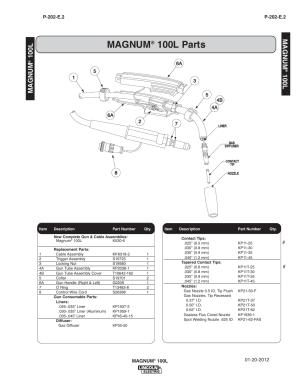 Magnum, 100l parts, 100l magnum | Lincoln Electric IM890