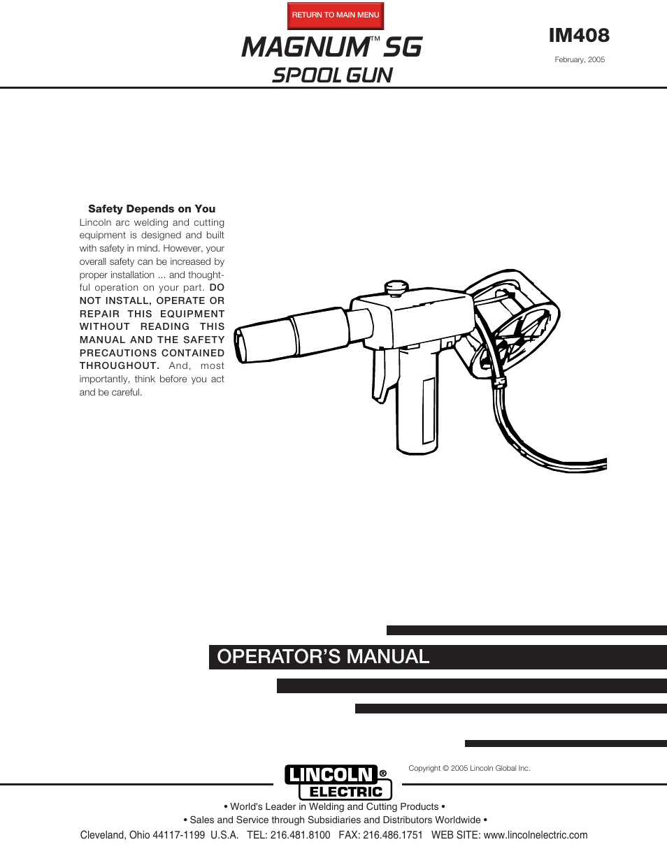 Lincoln Electric IM408 MAGNUM SG SPOOL GUN User Manual