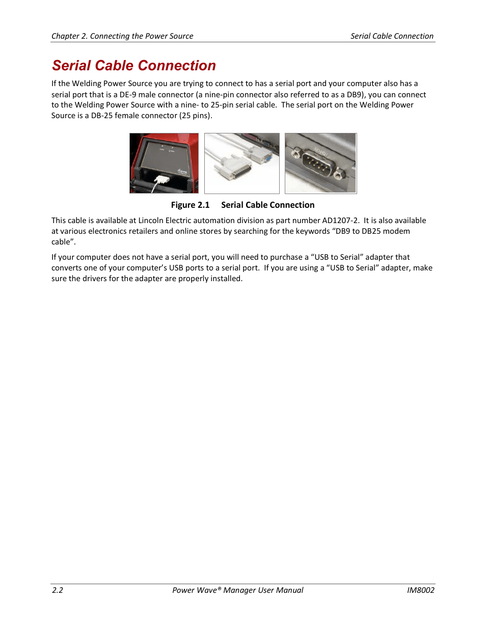 medium resolution of serial cable connection lincoln electric im8002 power wave manager user manual page 18 128
