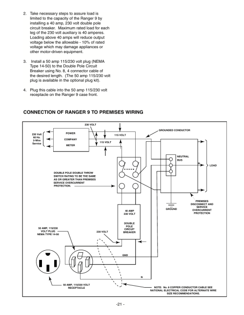 small resolution of connection of ranger 9 to premises wiring lincoln electric im511 ranger 9 user manual