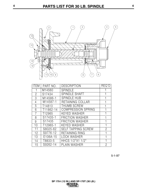 small resolution of parts list for 30 lb spindle lincoln electric im537sa sp 170t 30lb user manual page 5 8