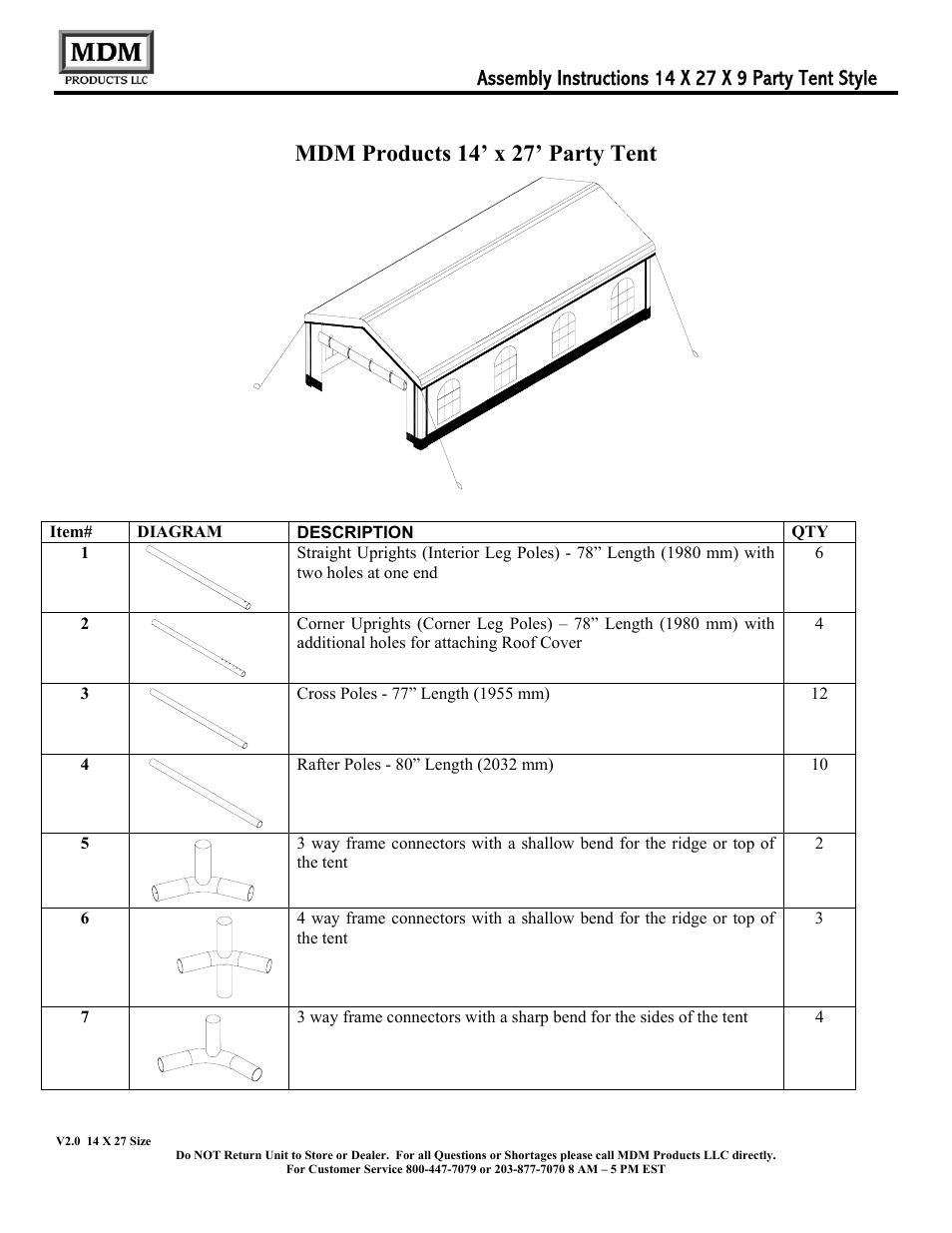 medium resolution of mdm products 14 x 27 party tent rhino shelter party tent 14w x 14l x 9h user manual page 19 33