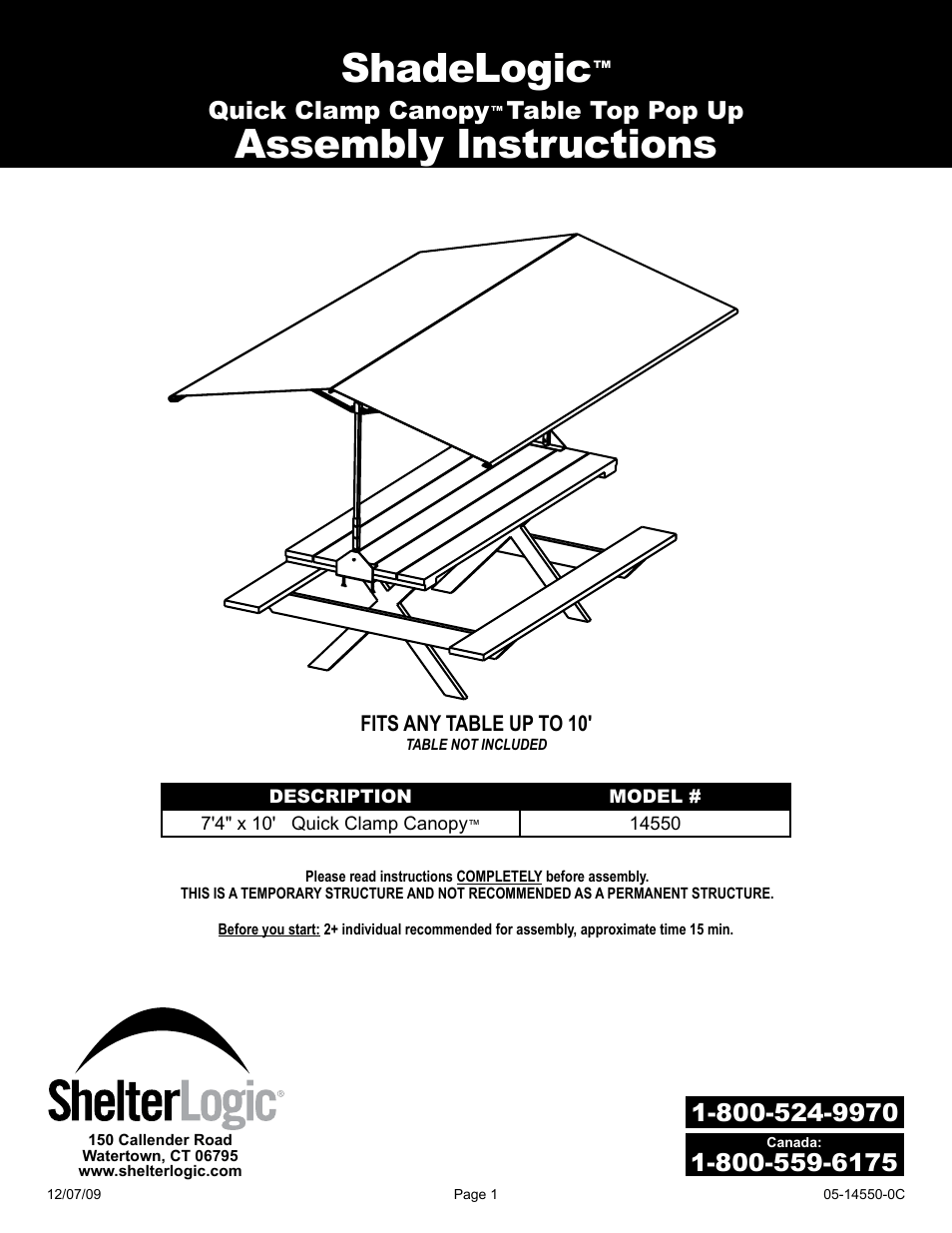 ShelterLogic 14550 7 4 x 10 Quick Clamp Canopy User Manual