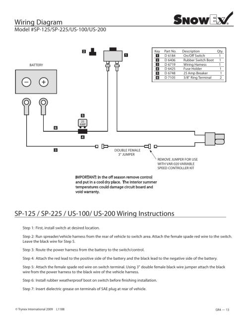 Snowex Spreader Wiring Diagram - owner operator s manual on