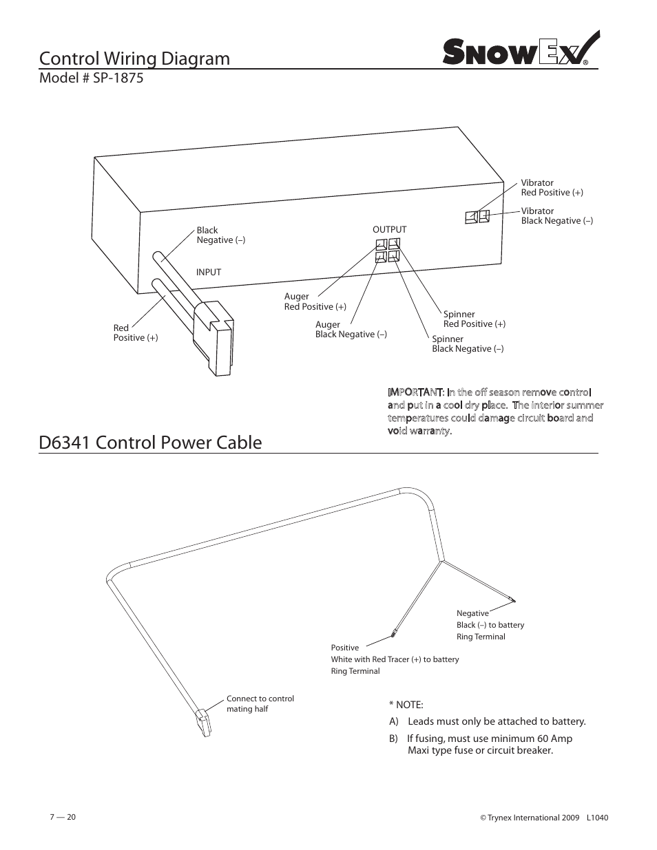 medium resolution of control wiring diagram d6341 control power cable model sp 1875 snowex