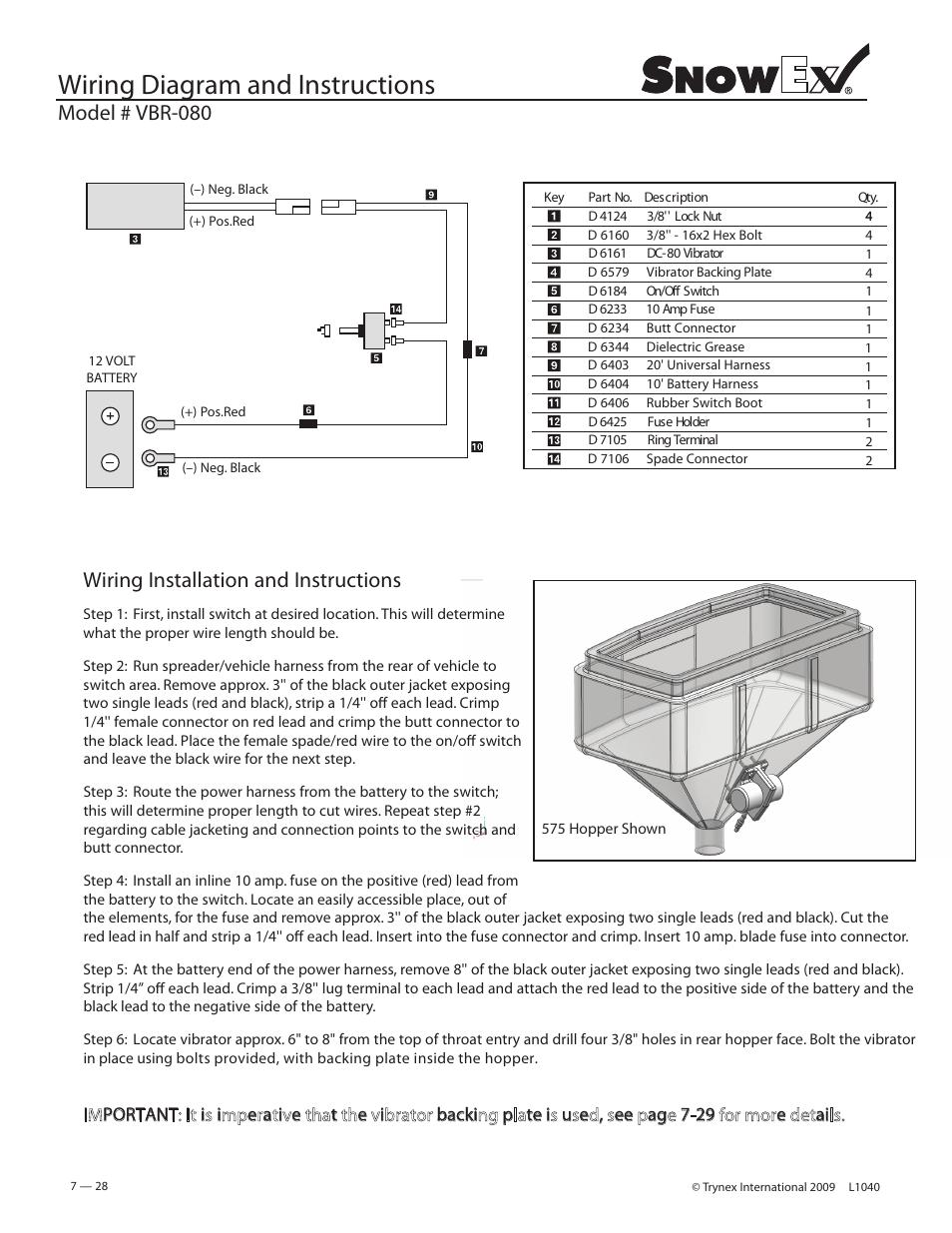 medium resolution of wiring diagram and instructions model vbr 080 wiring snowex wiring diagram 2500