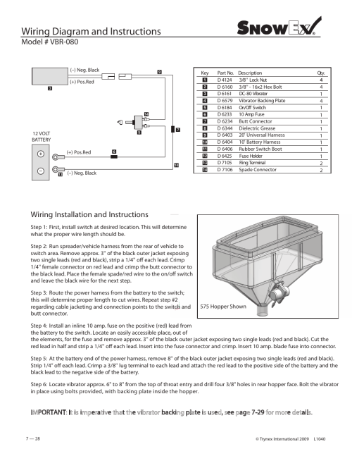 small resolution of wiring diagram and instructions model vbr 080 wiring snowex wiring diagram 2500