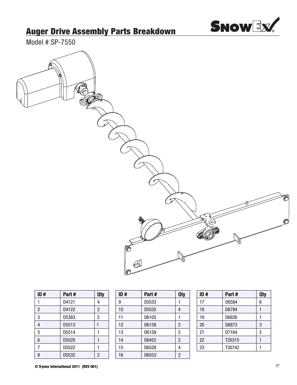 Auger drive assembly parts breakdown, Model # sp-7550