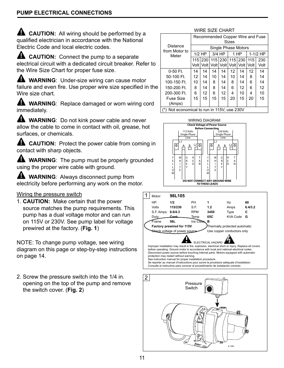 medium resolution of 11 pump electrical connections star water systems el10s user manual page 11 20