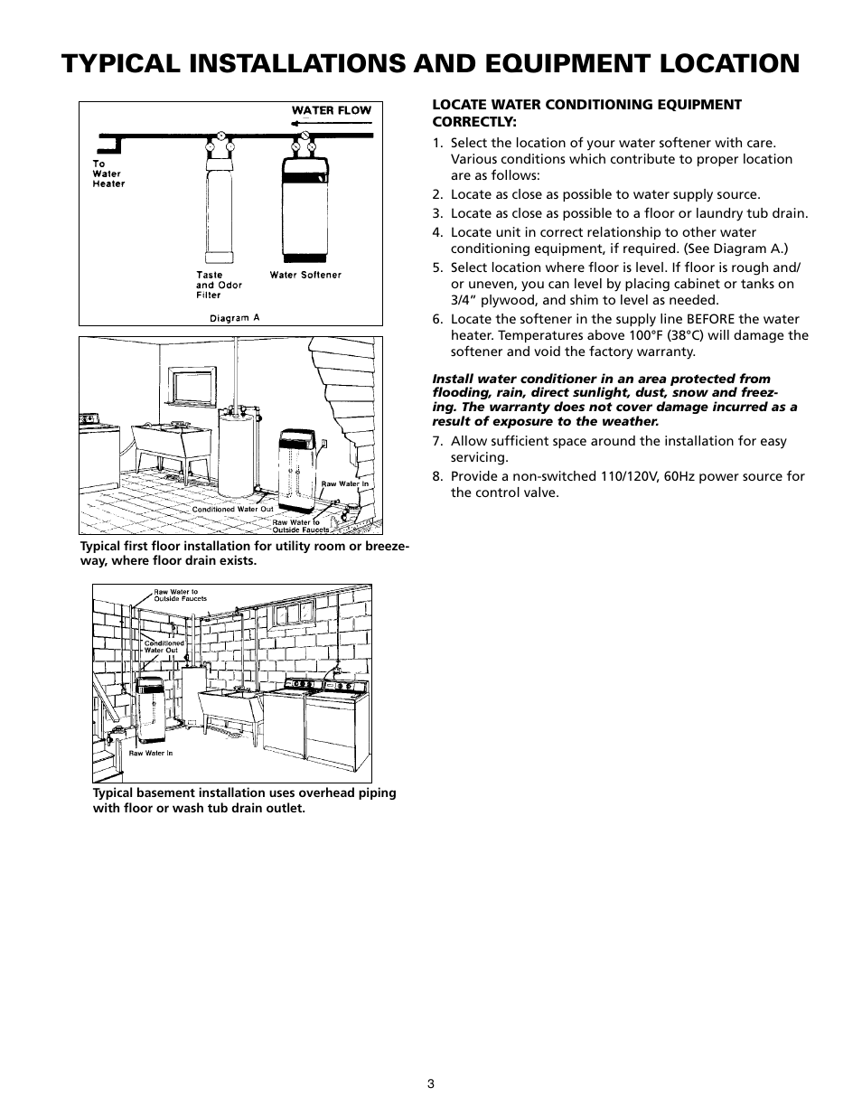 medium resolution of typical installations and equipment location star water systems water softener user manual page 3
