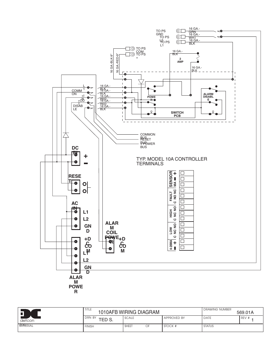 hight resolution of 1010afb wiring diagram dc in rese t ac in l1 l2 gn d dc co m l1 l2 gn d alar m powe r detcon 1010a fb user manual page 5 8