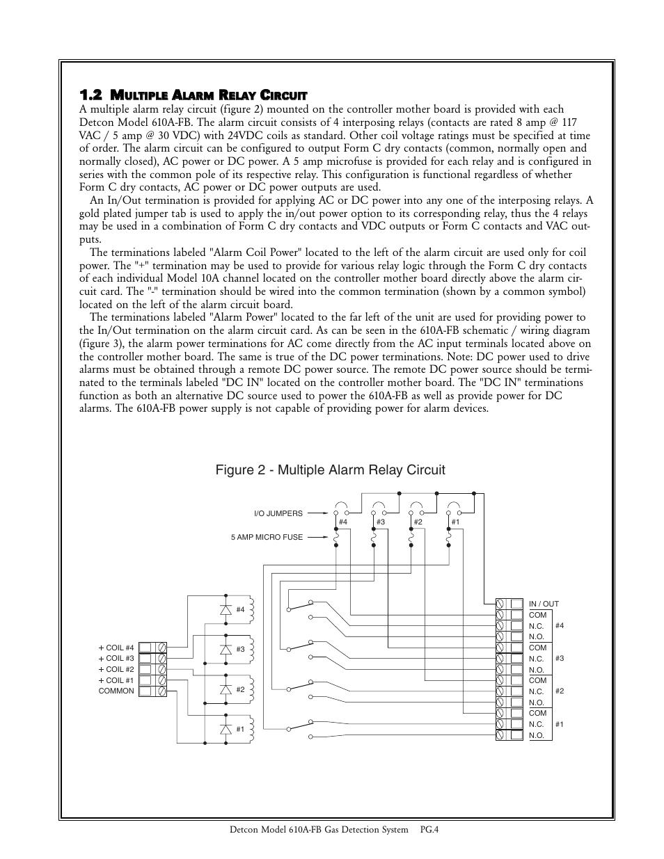 medium resolution of 11 2 m m figure 2 multiple alarm relay circuit detcon 610a fb user manual page 4 7