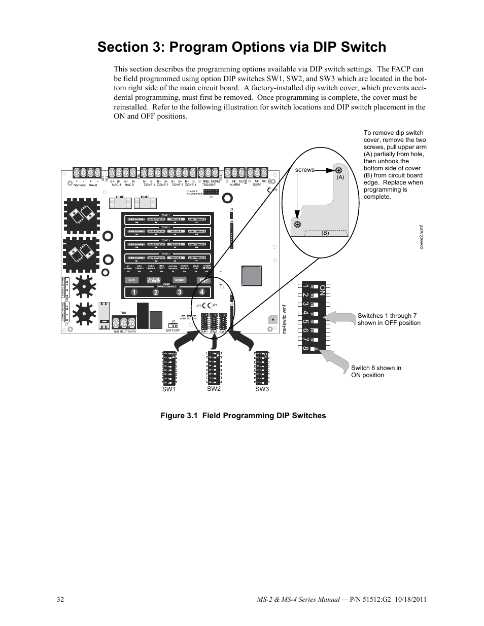 hight resolution of section 3 program options via dip switch fire lite ms 4e fire alarm control panel user manual page 32 56