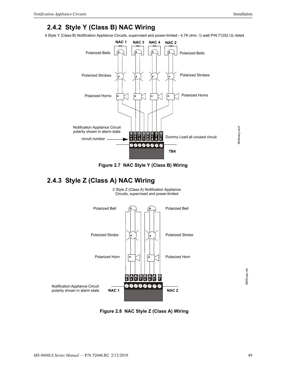 medium resolution of 2 style y class b nac wiring 3 style z class a nac wiring signaling line circuit wiring manual firelite alarms