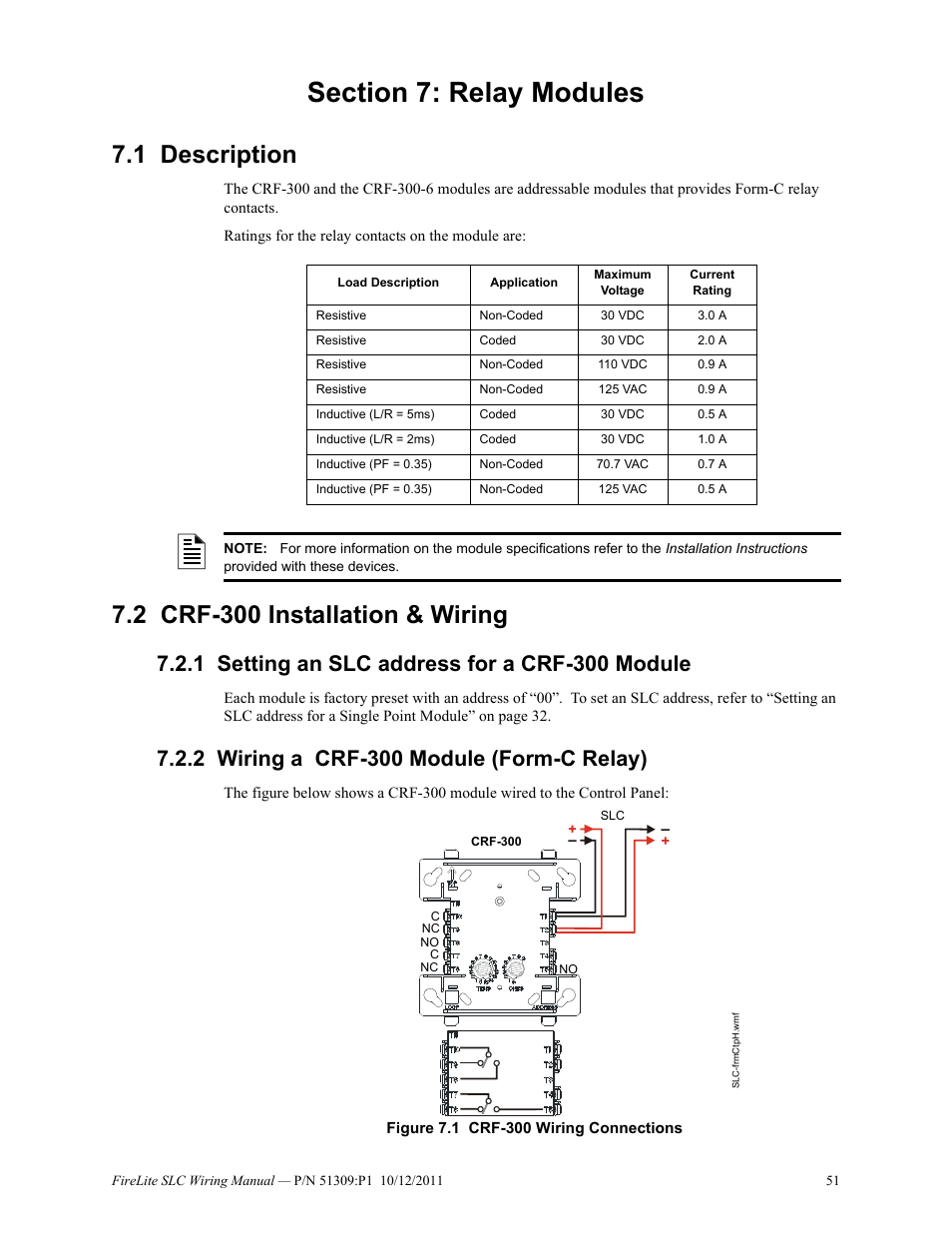 hight resolution of section 7 relay modules 1 description 2 crf 300 installation wiring fire lite slc intelligent control panel wiring manual user manual page 51 80