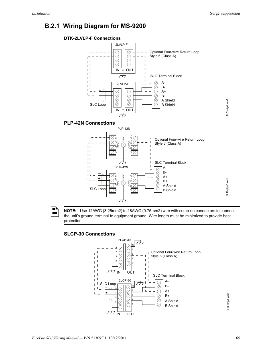 B.2.1 wiring diagram for ms-9200, Dtk-2lvlp-f connections