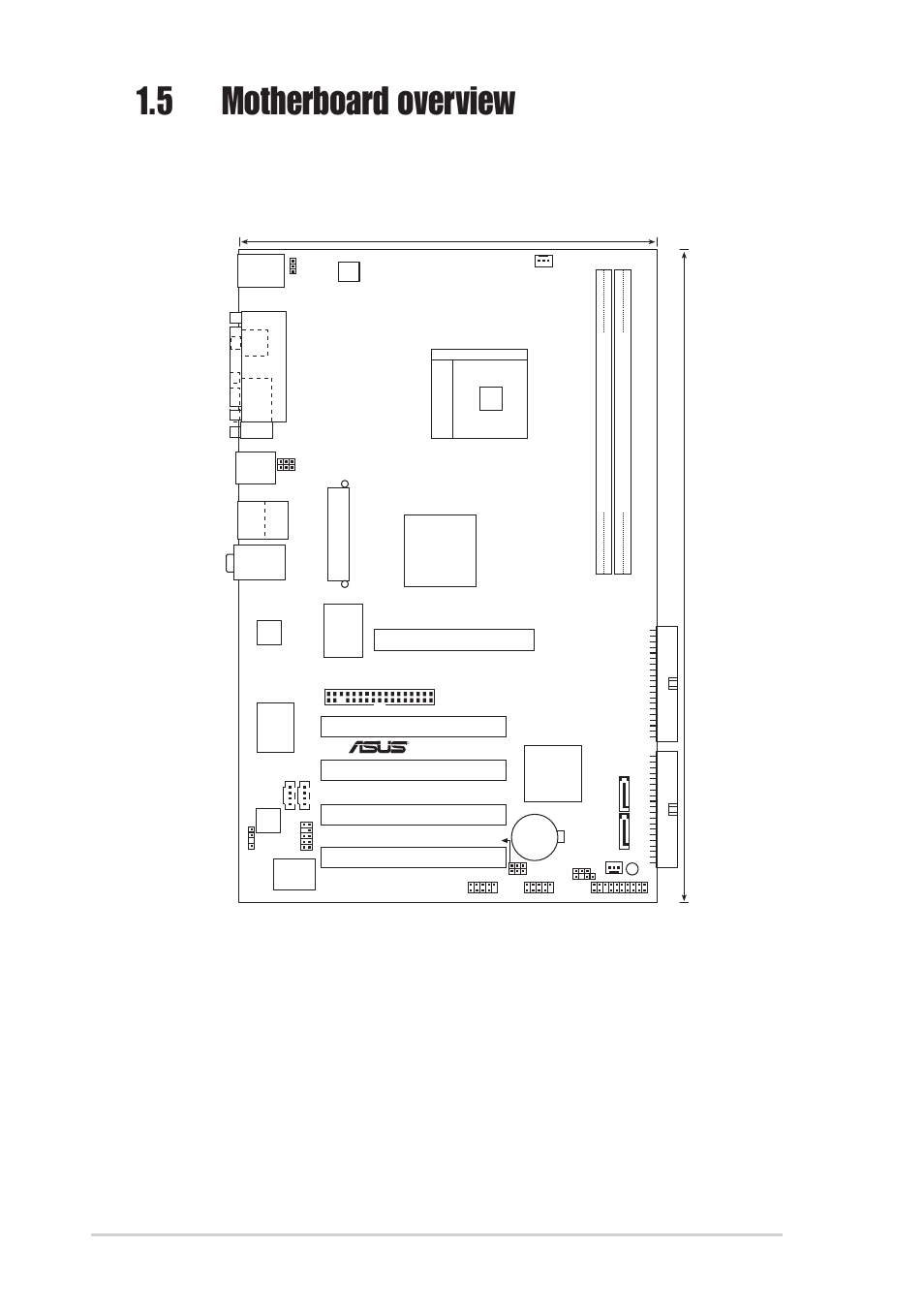 5 motherboard overview, 1 motherboard layout, 6 chapter 1