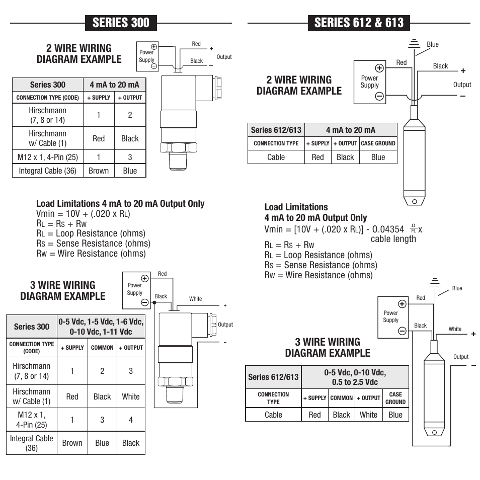 hight resolution of 2 wire wiring diagram example 3 wire wiring diagram example noshok 100 series transmitters transducers wiring diagrams electrical connections user