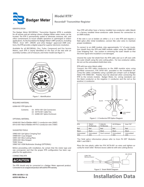 small resolution of badger meter water conditioning user manual 2 pages also for recordall transmitter register
