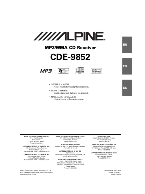 small resolution of alpine cde 9852 user manual 29 pages