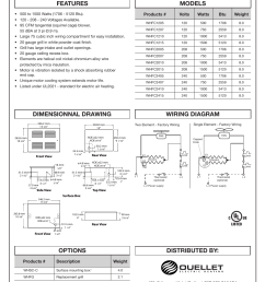 whfc ceiling heater distributed by features models options wiring diagram dimensionnal drawing [ 954 x 1235 Pixel ]