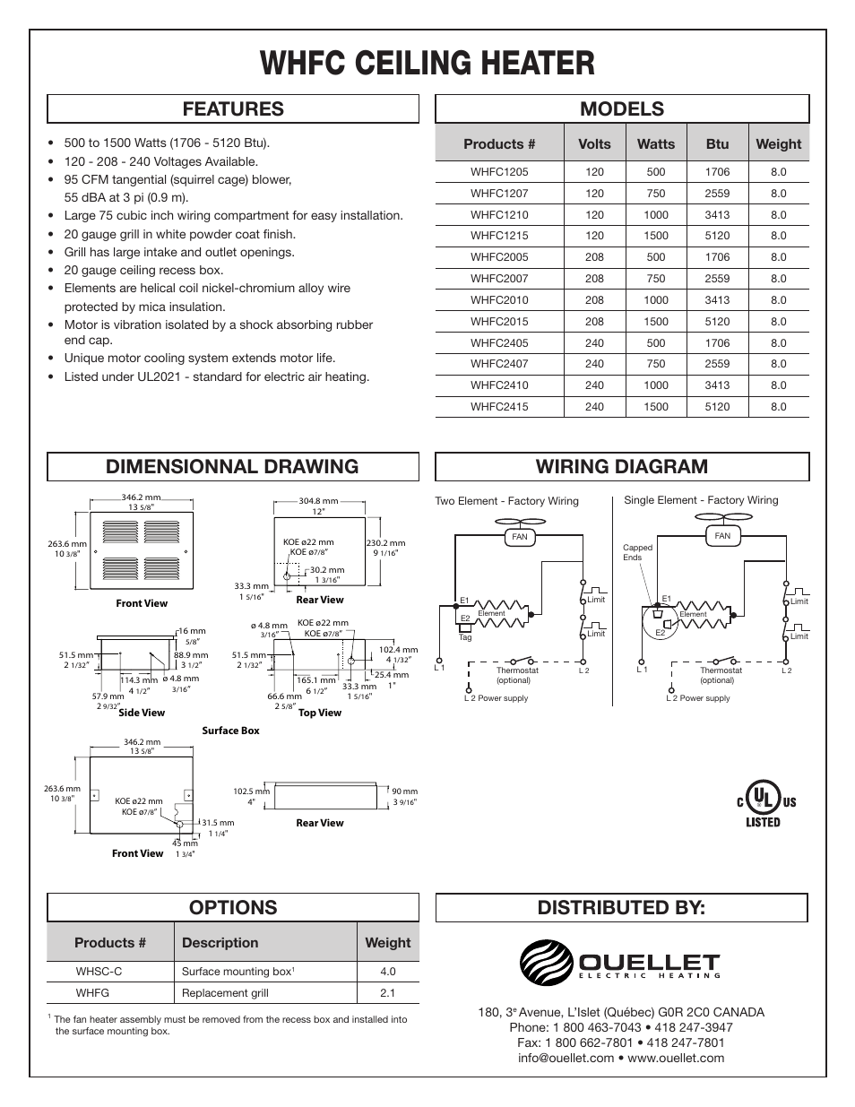 hight resolution of whfc ceiling heater distributed by features models options wiring diagram dimensionnal drawing