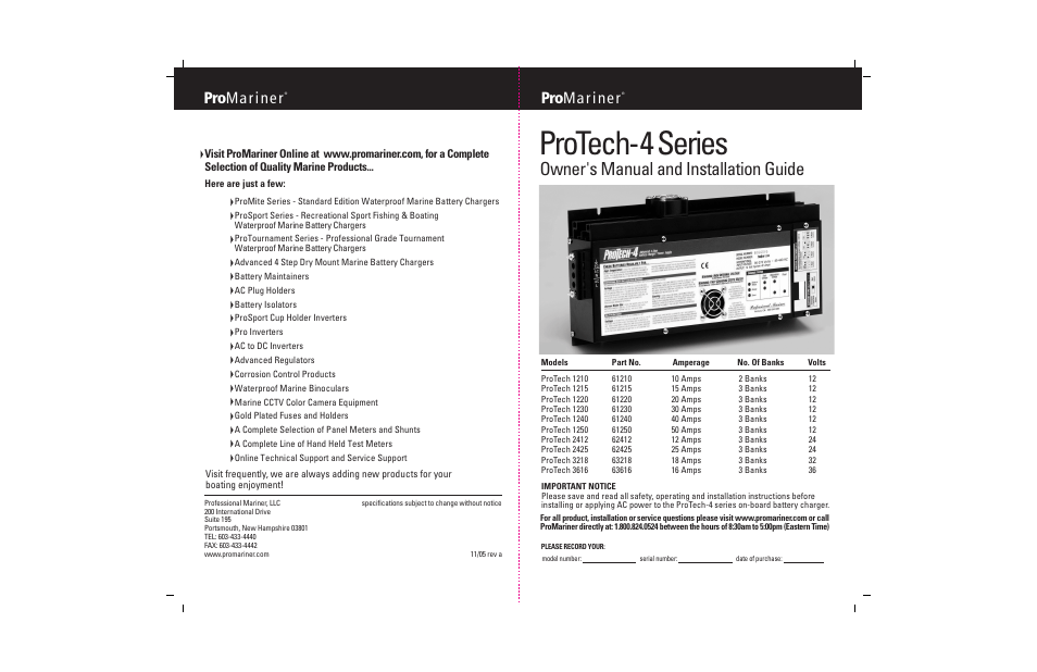 Protech-4 series, Owner's manual and installation guide