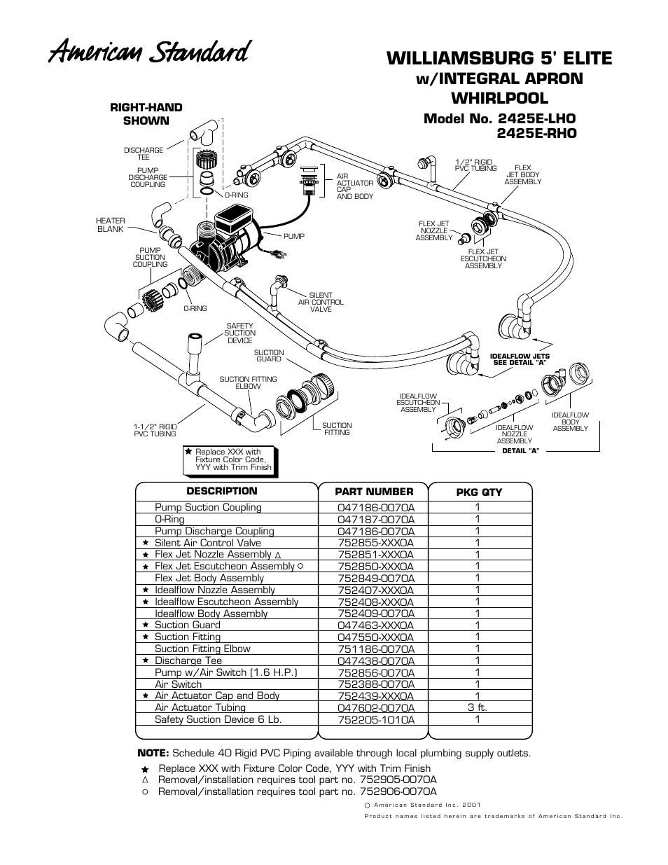 American Standard Williamsburg Elite 5' Integral Apron