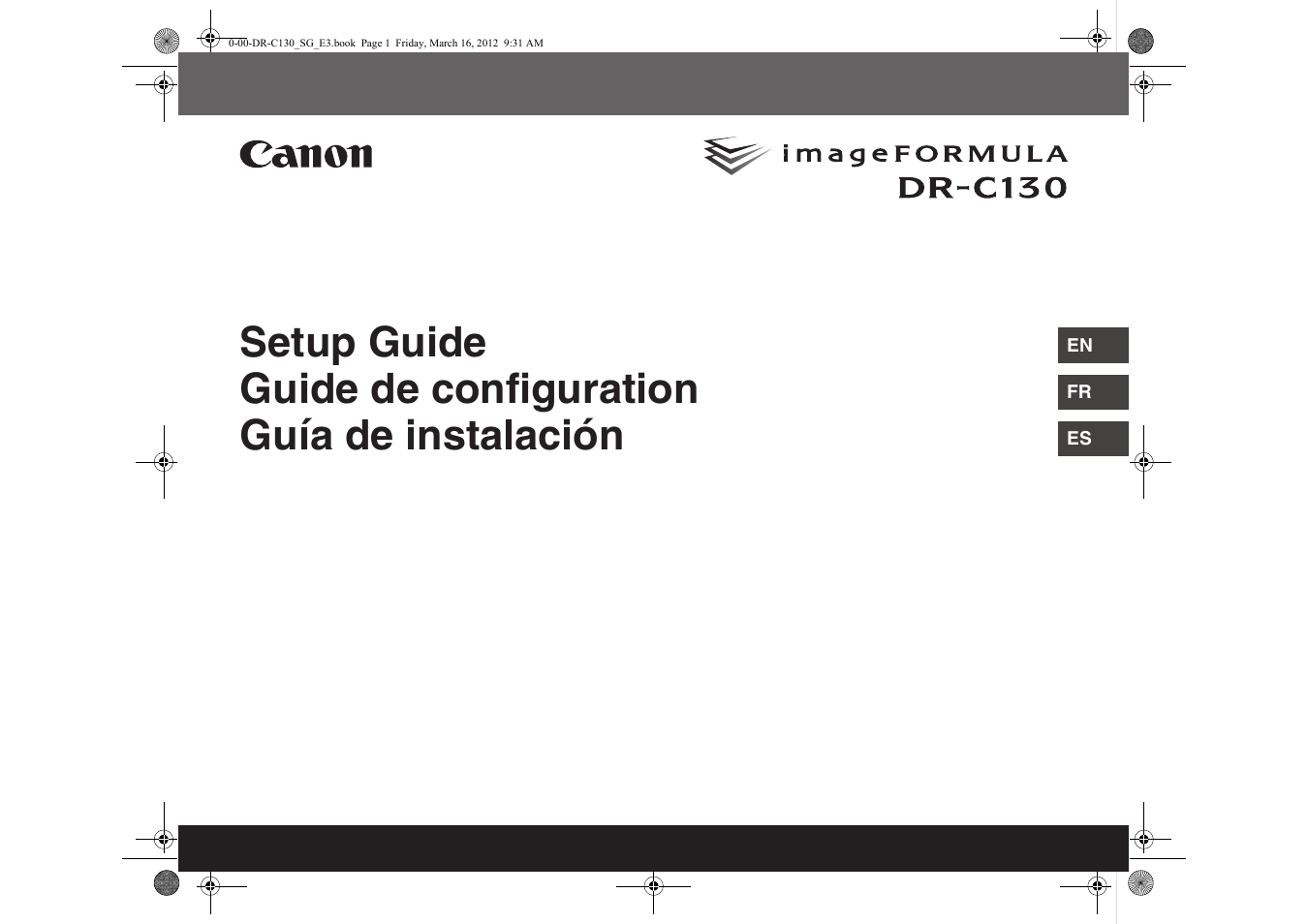Canon imageFORMULA DR-C130 Document Scanner User Manual