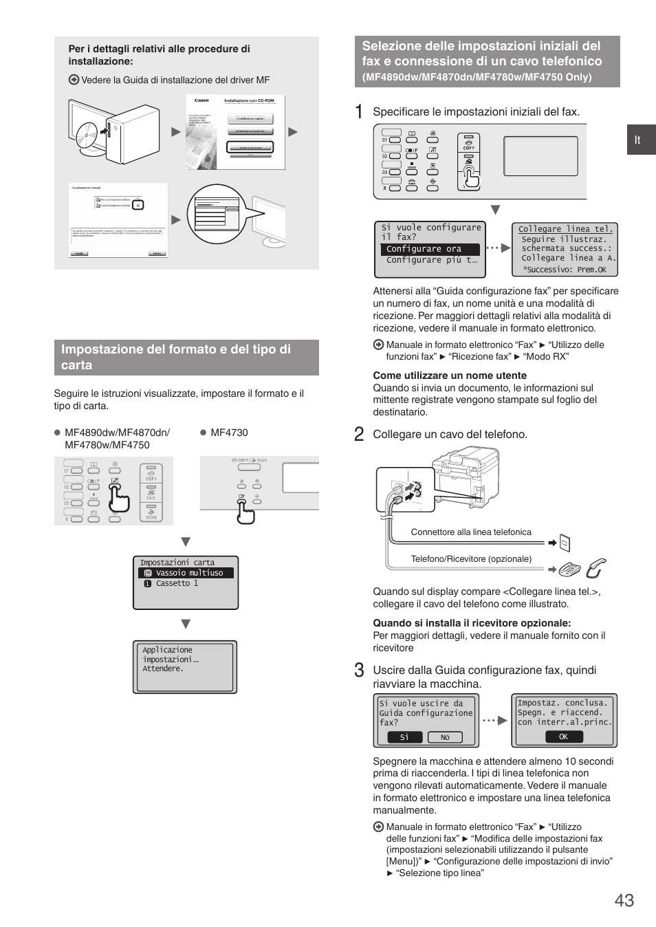 Impostazione del formato e del tipo di carta, Selezione