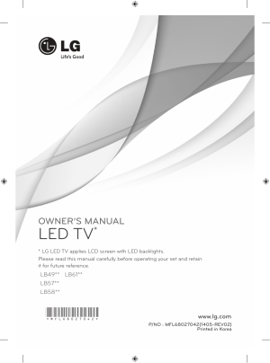 LG 42LB5820 User Manual | 236 pages | Also for: 55LB5800