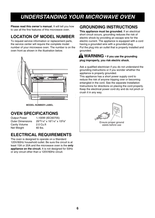 small resolution of understanding your microwave oven location of model number oven specifications lg lmvm2085st user manual page 6 35