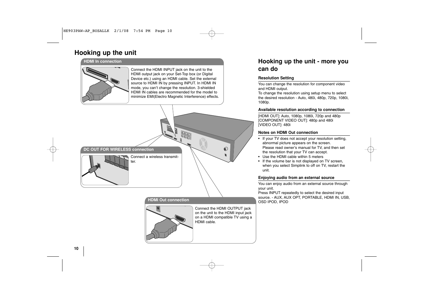 hight resolution of hooking up the unit hooking up the unit more you can do lg lht874 user manual page 10 28