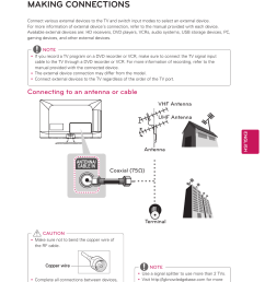 making connections connecting to an antenna or cable lg 32cs460 user manual page 29 44 [ 954 x 1318 Pixel ]