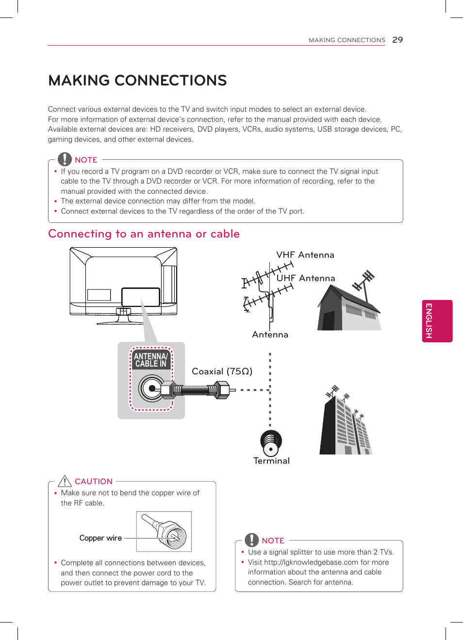 hight resolution of making connections connecting to an antenna or cable lg 32cs460 user manual page 29 44