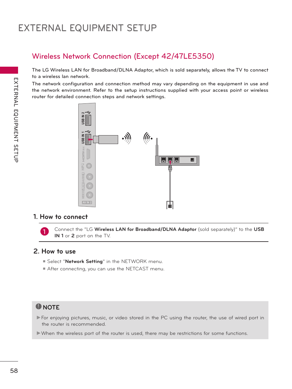 medium resolution of wireless network connection external equipment setup how to connect lg 50pz550 user manual page 58 206