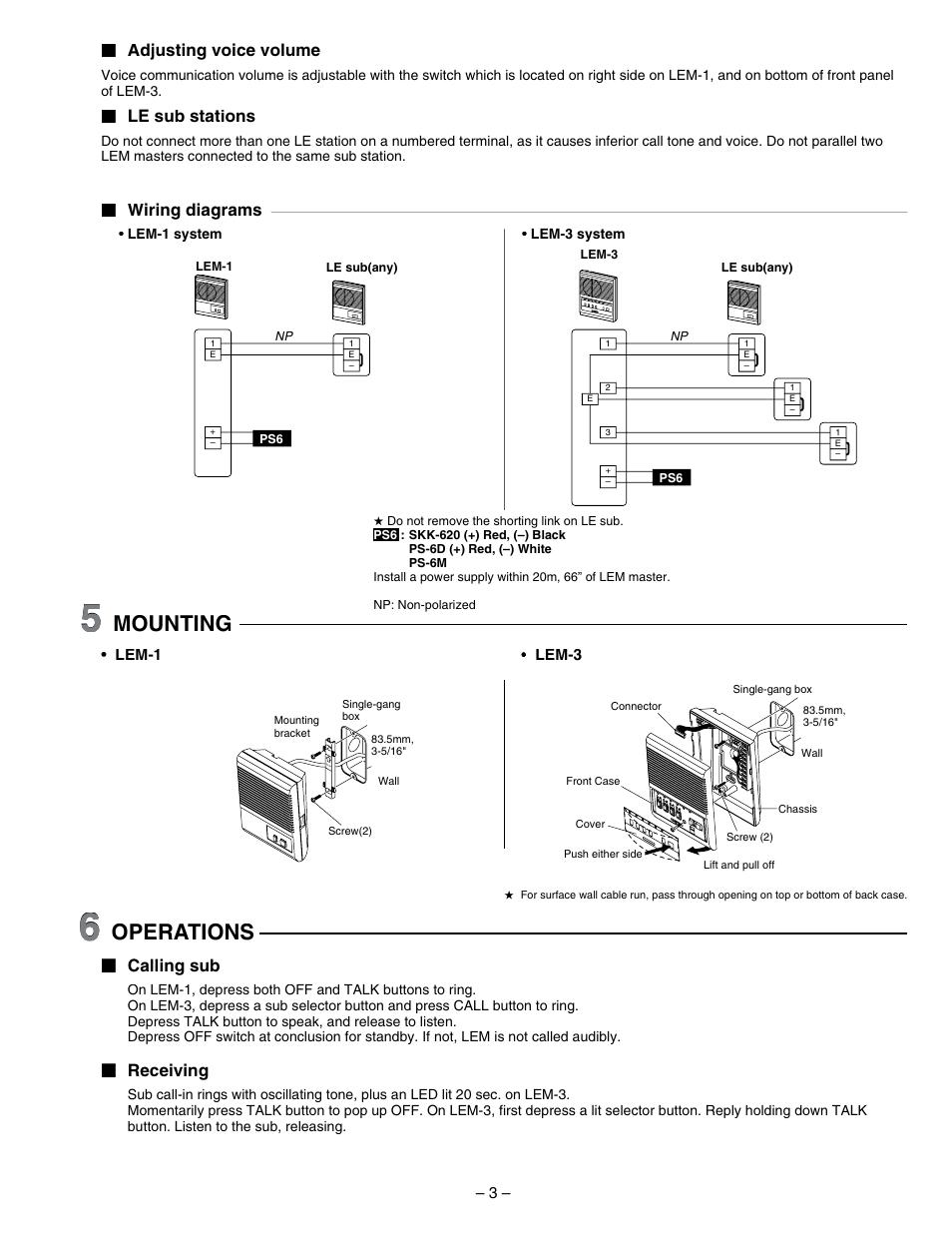 3 Gang Wiring Diagram Mounting Operations Adjusting Voice Volume Aiphone Lem