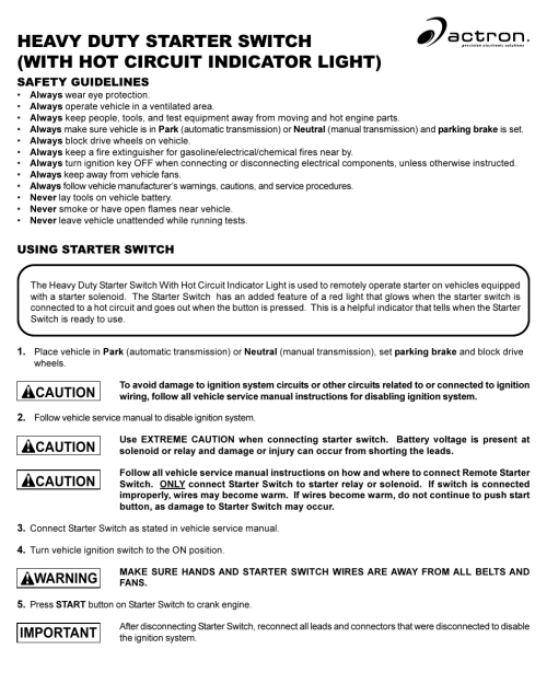 small resolution of actron starter switch user manual 2 pages also for cp7854 h d remote starter switch cp7854