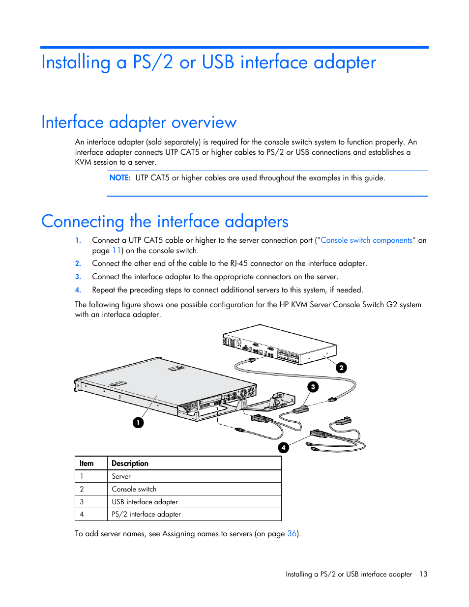 medium resolution of installing a ps 2 or usb interface adapter interface adapter overview connecting the interface adapters hp compaq server console switches user manual