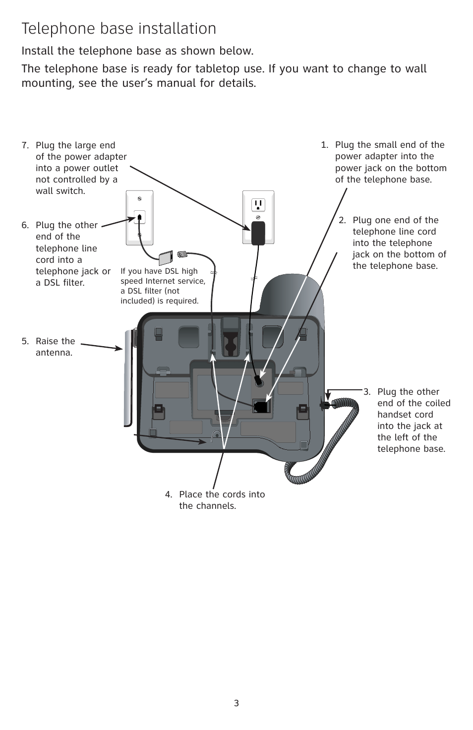 hight resolution of telephone base installation at t dect cl84209 user manual page 4 12