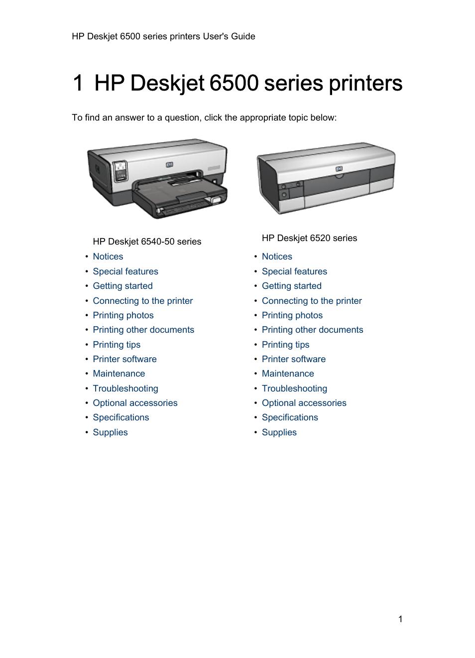 Hp Deskjet 6540 Color Inkjet Printer User Manual 195 Pages