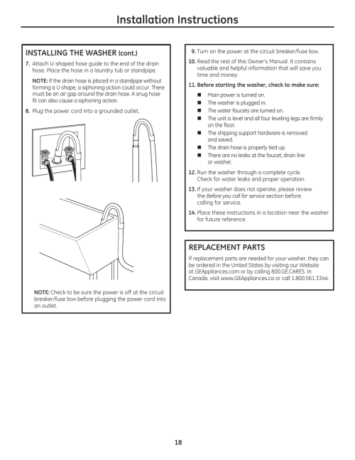 small resolution of installation instructions installing the washer replacement parts ge wcvh4800kww user manual page 18 76