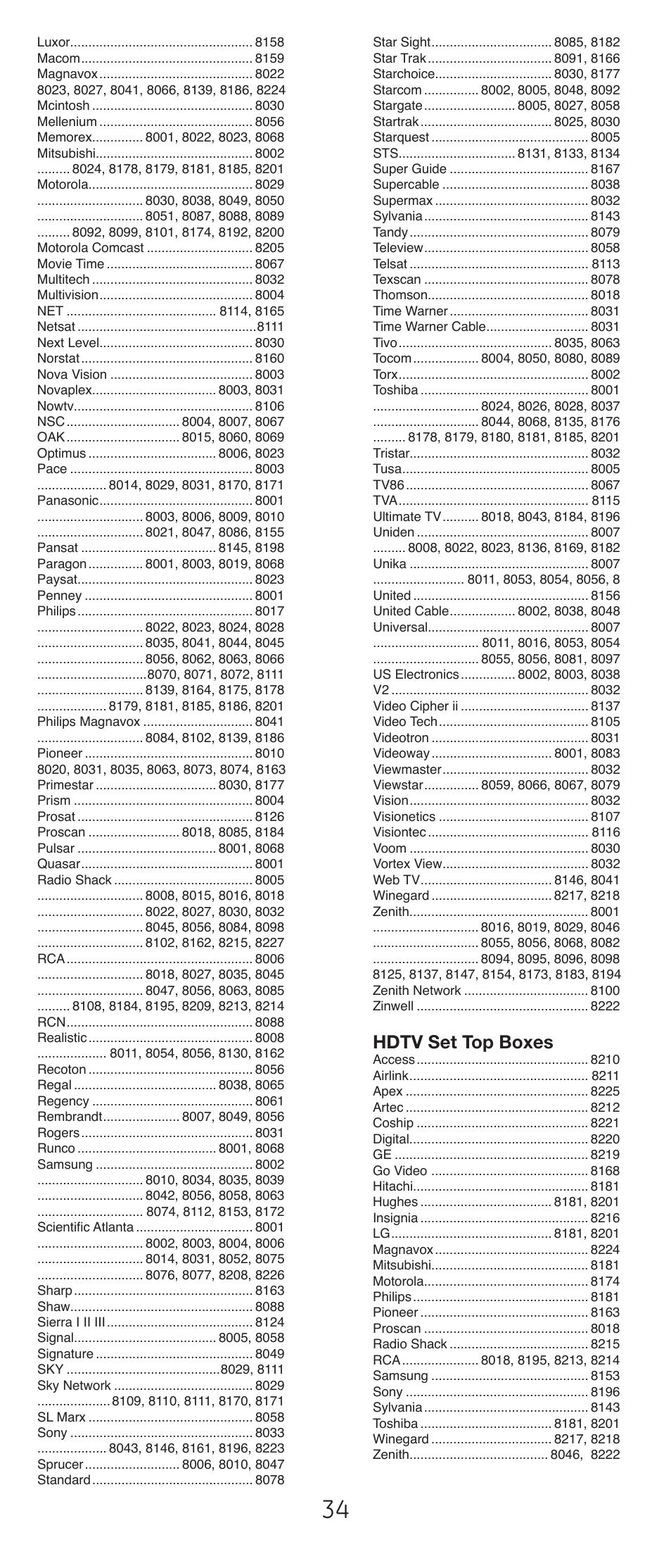 Hdtv set top boxes  GE 24927v2 GE Universal Remote User