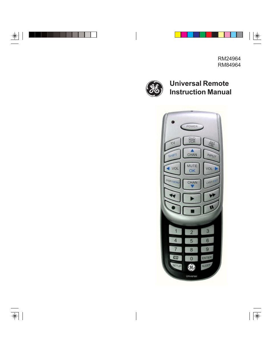 GE 24964 GE Universal 3-Device Slider Remote User Manual