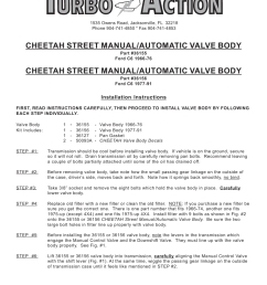 turbo action 36156 ford c6 1966 76 street manual automatic valve body prnd21 user manual 4 pages also for 36155 ford c6 1966 76 street  [ 954 x 1235 Pixel ]