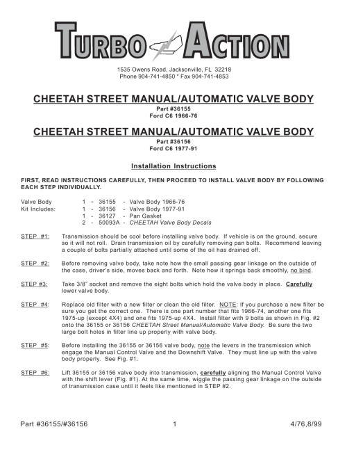 small resolution of turbo action 36156 ford c6 1966 76 street manual automatic valve body prnd21 user manual 4 pages also for 36155 ford c6 1966 76 street