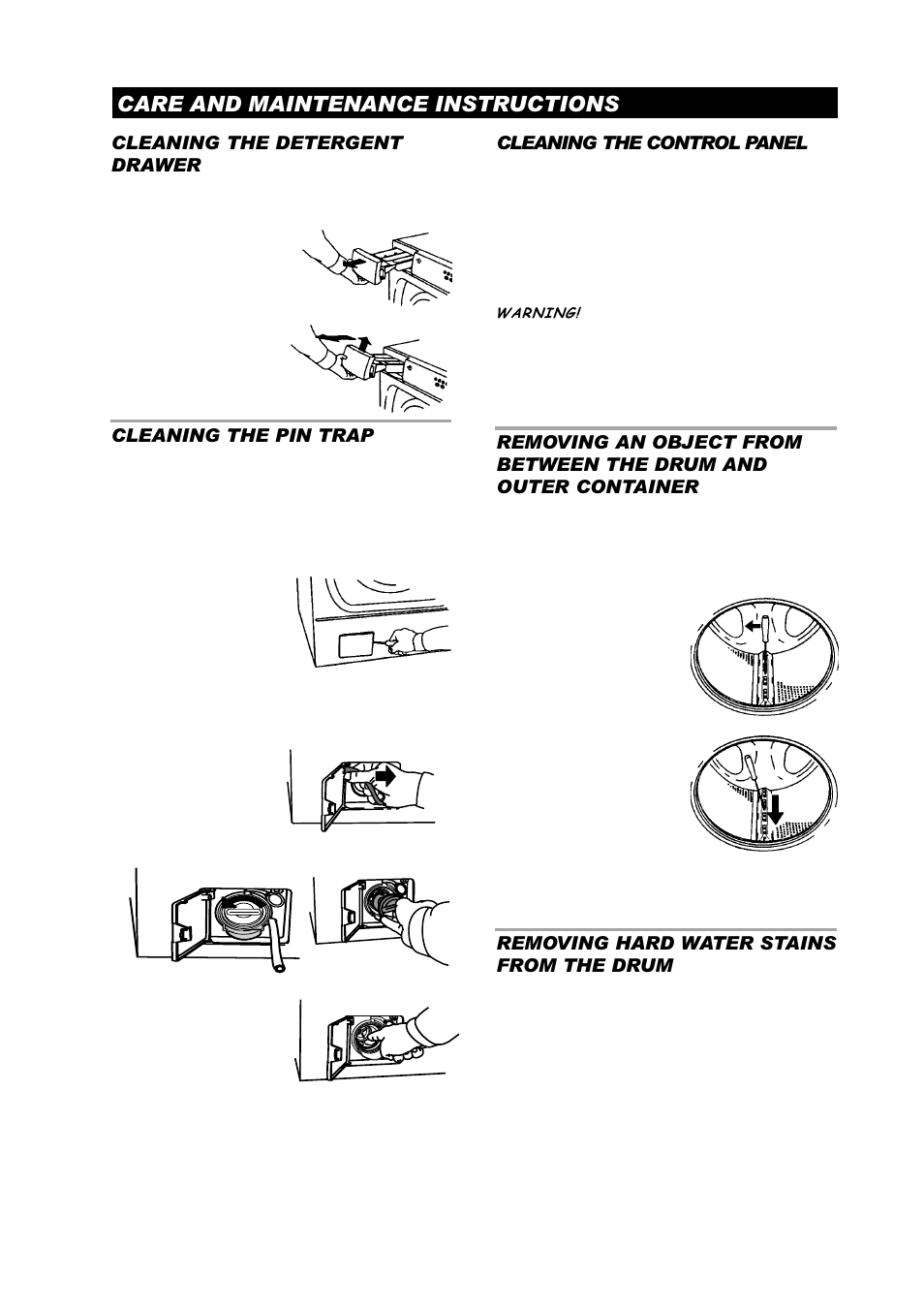 Care and maintenance instructions, Cleaning the detergent