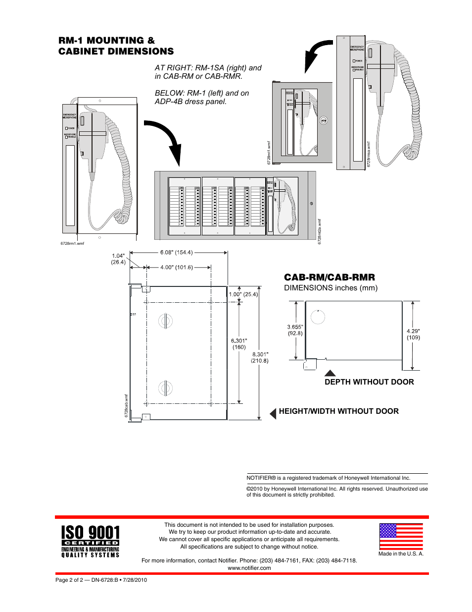 Rm-1 mounting & cabinet dimensions, Cab-rm/cab-rmr