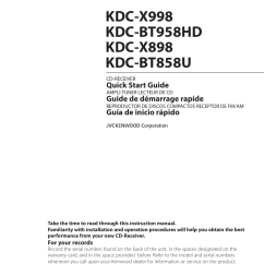 Kenwood Kdc Wiring Diagram Manual Cat5e Telephone X898 User 48 Pages Also For X998